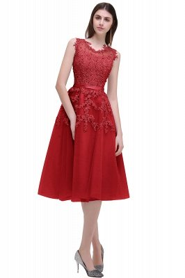 ЭМИРА | A-Line Crew Tea Length Кружева Appliques Короткие платья выпускного вечера_3