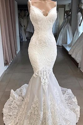 Elegant Spaghetti Strap V-neck White Sleeveless Mermaid Open Back Wedding Dress with Chapel Train