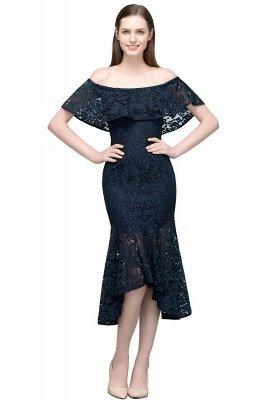 VERENA   Mermaid Off-shoulder Tea Length Black Lace Prom Dresses_1