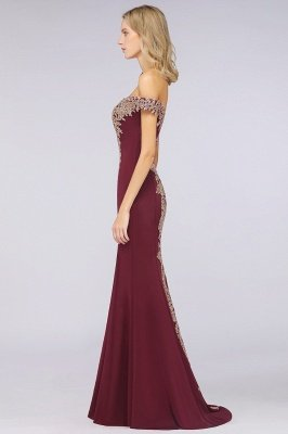 Simple Off-the-shoulder Burgundy Formal Dress with Lace Appliques_32
