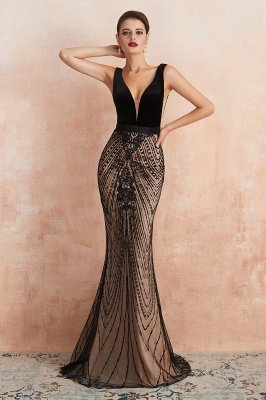 Celeste   Robe de soirée sexy de style compliqué à col en V noir, robe de velours sans dossier en paillettes étincelante pour bal de promo_8