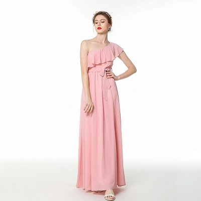 Candy | Pink One-shoulder Flounce Bridesmaid dress with self-tie bow_4