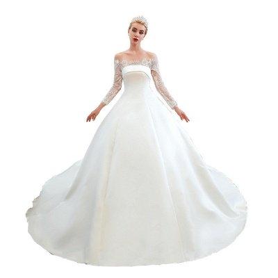 فستان زفاف الأميرة من الساتان بأكمام طويلة من الدانتيل الرومانسي | فساتين زفاف الأميرة مع قطار الكاتدرائية_24