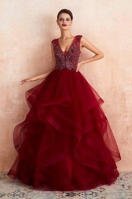 Cherise | Wine Red V-neck Sparkle Prom Dress with Muti-layers, Discount Burgundy Sleevleless Ball Gown for Online Sale_2