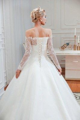فستان زفاف الأميرة من الساتان بأكمام طويلة من الدانتيل الرومانسي | فساتين زفاف الأميرة مع قطار الكاتدرائية_4