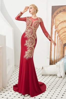 Harley | Luxury Illusion neck Long Sleeves Prom Dress with Sparkling Gold Lace Appliques
