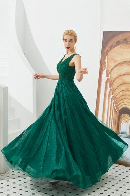 Harriet | Shining Emerald green Sexy V-neck Princess Low back Prom Dress with Pleats_7