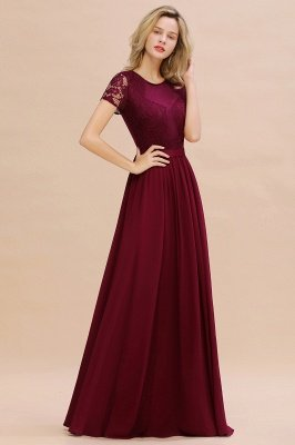 Abraham | Burgundy Short Sleeve Lace Simple Chiffon Formal Dress, Pink, Dark Green_14