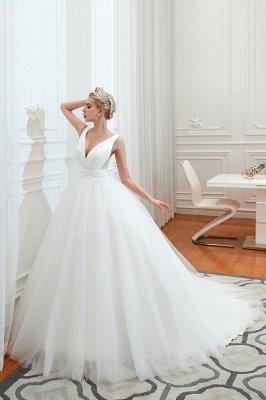 مثير الخامس الرقبة بلا أكمام فستان زفاف الأميرة الربيع | فساتين زفاف أنيقة منخفضة الظهر مع حزام_1