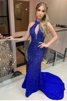 Fully covered Beads Halter Sexy Keyhole Open back Yoyal Blue Prom Dress with Court Train