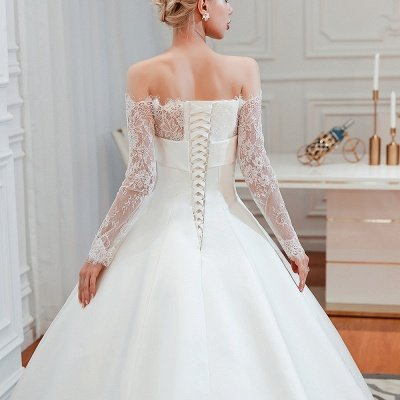 فستان زفاف الأميرة من الساتان بأكمام طويلة من الدانتيل الرومانسي | فساتين زفاف الأميرة مع قطار الكاتدرائية_8