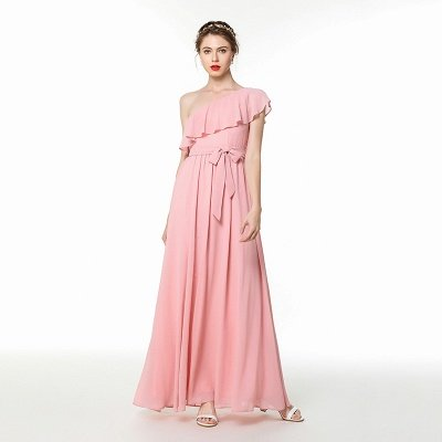 Candy | Pink One-shoulder Flounce Bridesmaid dress with self-tie bow_7