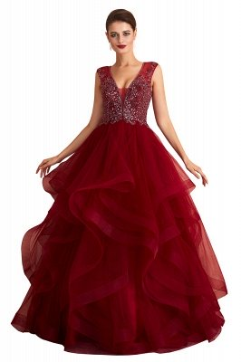 Cherise | Wine Red V-neck Sparkle Prom Dress with Muti-layers, Discount Burgundy Sleevleless Ball Gown for Online Sale_1