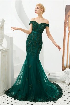 Harvey | Cheap Emerald green Mermaid Tulle Prom dress with Beaded Lace Appliques