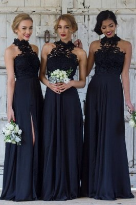 Halter Lace Chiffon Bridesmaid Dress with Split Sleeveless Sexy Maid of Honor Dresses BA7430_2