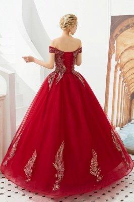 Генри | Элегантное красное плечевое платье принцессы с открытыми плечами и вышивкой с крылышками_9