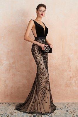 Celeste   Robe de soirée sexy de style compliqué à col en V noir, robe de velours sans dossier en paillettes étincelante pour bal de promo_7