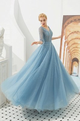 Harold | Discount V-neck Fully beaded 2/3 sleeves A-line Tulle Long Prom Dress_4