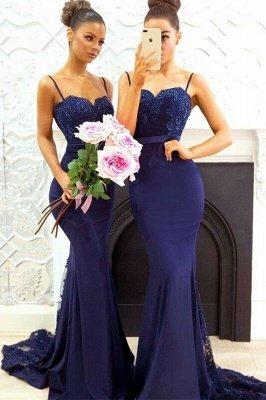 Elegant Dark Navy Bridesmaid Dresses | Spaghettis Straps Lace Prom Dresses_2