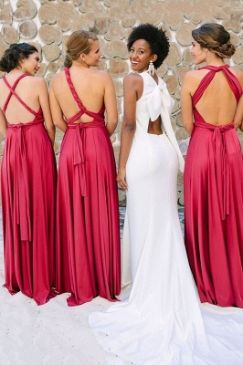 Irregular Shoulder Strap Changeable Style Bridesmaid Dresses | Long Backless Wedding Party Dresses With Sweep Train_3