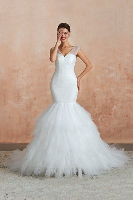 Catherine | Luxury V-neck Cap Sleeve Beach Wedding Dress with Ruffles, Low back Lace up White Close fitting Bridal Gowns with Sequins
