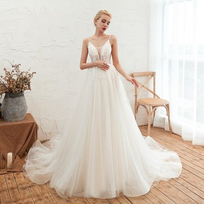 Summer Spaghetti Straps Plunging V-neck Champange Wedding Dress | Sexy Low Back Bridal Gowns Online_5