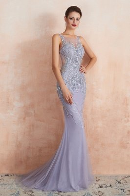 Chipo | Luxury Illusion neck Lavender White Beads Prom Dress Online, Expensive Low back Column Evening Gowns_7