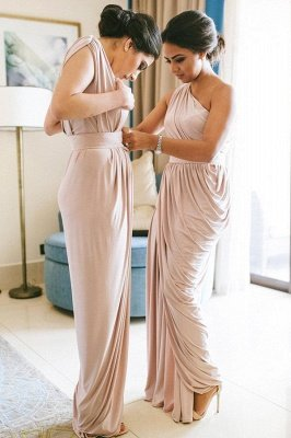 Summer One-shoulder Bridesmaid Dresses with Soft Pleats | Pink Maid if hornor Gowns for Spring Wedding_1