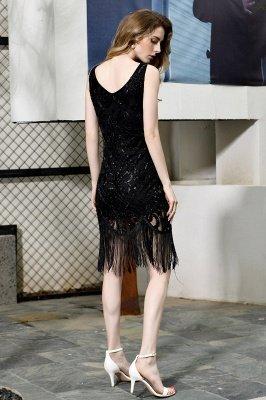 Arda | Black V-neck Sequined Short Cocktail Homecoming Dress_3