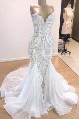Elegant Sparkle Mermaid White Wedding Dress   Sweetheart Bridal Gowns with Chapel Train