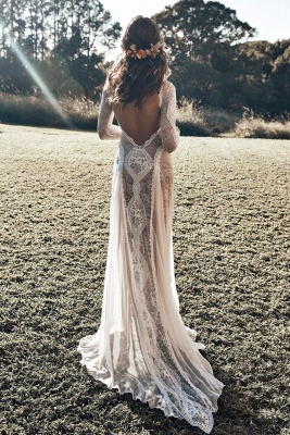 Elegant Boho Long Sleeves Backless Lace Beach Wedding Dress   Simple Summer Casual Bridal Gowns Online_4
