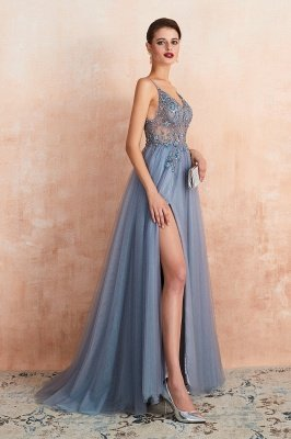 Charlotte | New Arrival Dusty Blue, Pink Spaghetti Strap Prom Dress with Sexy High Split, Evening Gowns Online_17