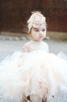Newest Bateau Lace Puffy Flower Girl Dresses With Long Sleeves | Tea Length Girls Pageant Dress