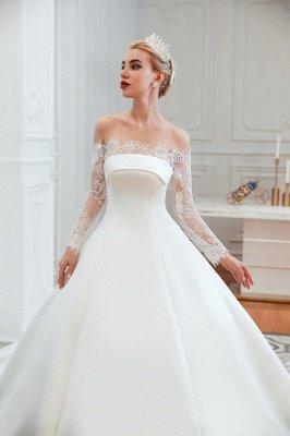 فستان زفاف الأميرة من الساتان بأكمام طويلة من الدانتيل الرومانسي | فساتين زفاف الأميرة مع قطار الكاتدرائية_21