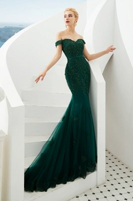 Harvey | Günstige Emerald Green Mermaid Tüll Prom Kleid mit Perlen Spitze Appliques_3