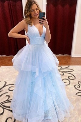 Rebekah | Elegant Light Blue V-neck Puffy Princess Tulle Prom Dress