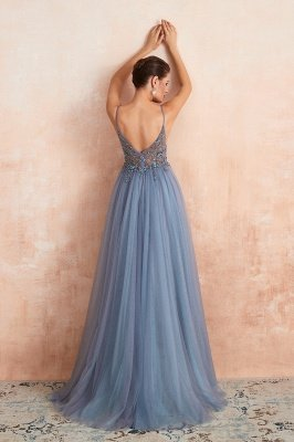 Charlotte | New Arrival Dusty Blue, Pink Spaghetti Strap Prom Dress with Sexy High Split, Evening Gowns Online_4