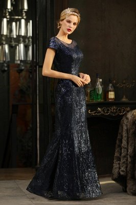 Helen| Long Sequined Cap sleeves Scoop neck Formal dress for Prom_9