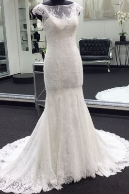 Elegant Cap Sleeves White Illusion neck Lace Mermaid Wedding Dress with Court Train