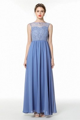 Light Ocean Blue Illusion neck Sleeveless Bridesmaid Dress | Elegant Lace Formal Dress for sale