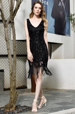 Arda | Black V-neck Sequined Short Cocktail Homecoming Dress_10