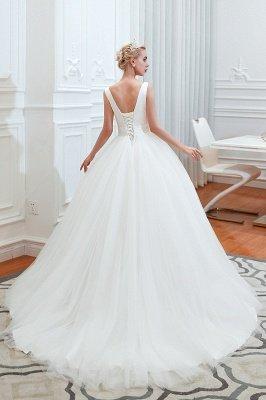 Sexy ärmellose weiße Prinzessin Frühling Brautkleid mit V-Ausschnitt   Elegante Brautkleider mit niedrigem Rücken und Gürtel_4