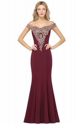 Simple Off-the-shoulder Cheap Burgundy Formal Dress with Lace Appliques_2