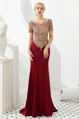 Hilary | Custom Made Short sleeves Burgundy Mermaid Prom Dress with Gold Lace Appliques