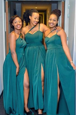 Sexy Long Prom Dress Affordable Bridesmaid Dress Split With Irregular Shoulder Strap | Floor Length Cheap Gowns