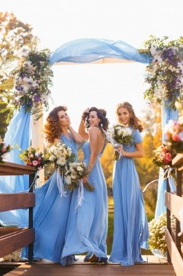 Haley | Convertible Sky Blue Chiiffon Bridesmaid Dresses for Summer Wedding