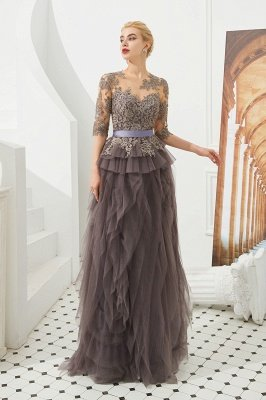 Modest Long Sleeve Gray Mother of the bride Dress with flowing Ruffles | Elegant Illusion neck Evening Dress_2