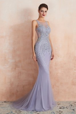 Chipo | Luxury Illusion neck Lavender White Beads Prom Dress Online, Expensive Low back Column Evening Gowns_5