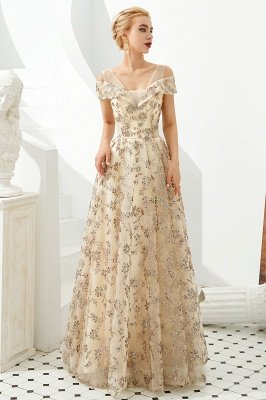 Herbert | Elegante vestido de fiesta dorado con hombros fríos y delicados apliques de encaje multicolor_6