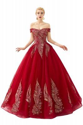 Генри | Элегантное красное плечевое платье принцессы с открытыми плечами и вышивкой с крылышками_1